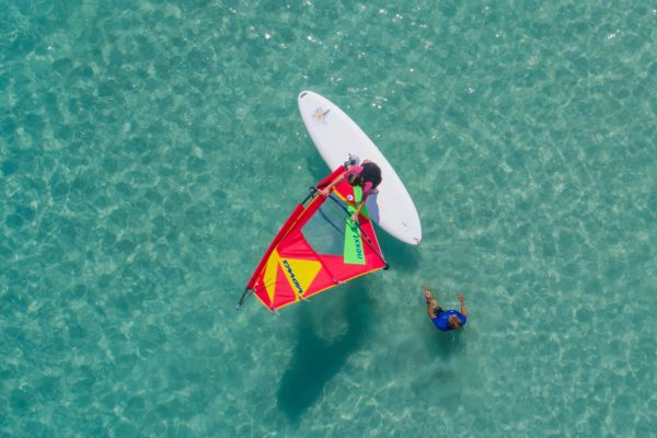 vista aerea de la escuela de windsurf de mallorca watersportsmallorca 600x400 - Beginner's private class or perfecting Windsurf