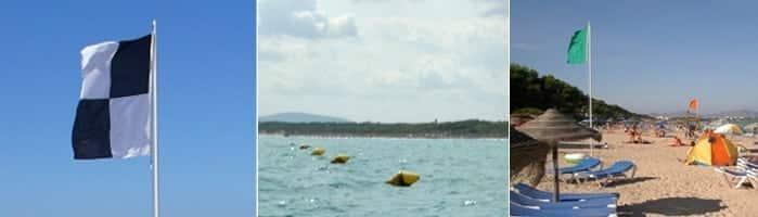banderas para en la playa de muro en la bahia de alcudia - Playa de Muro